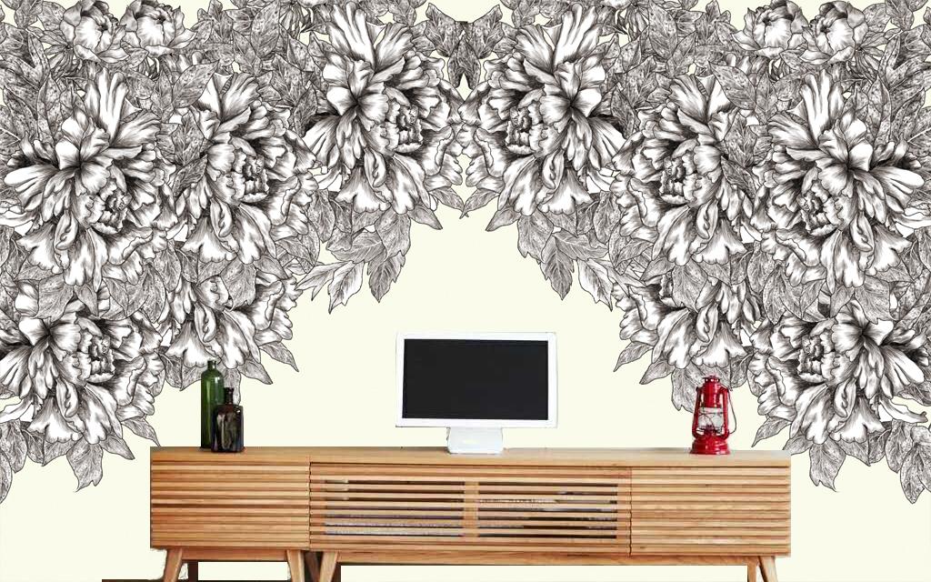 花卉黑白手绘简约psd手绘分层格式电视背景墙图片黑白花卉