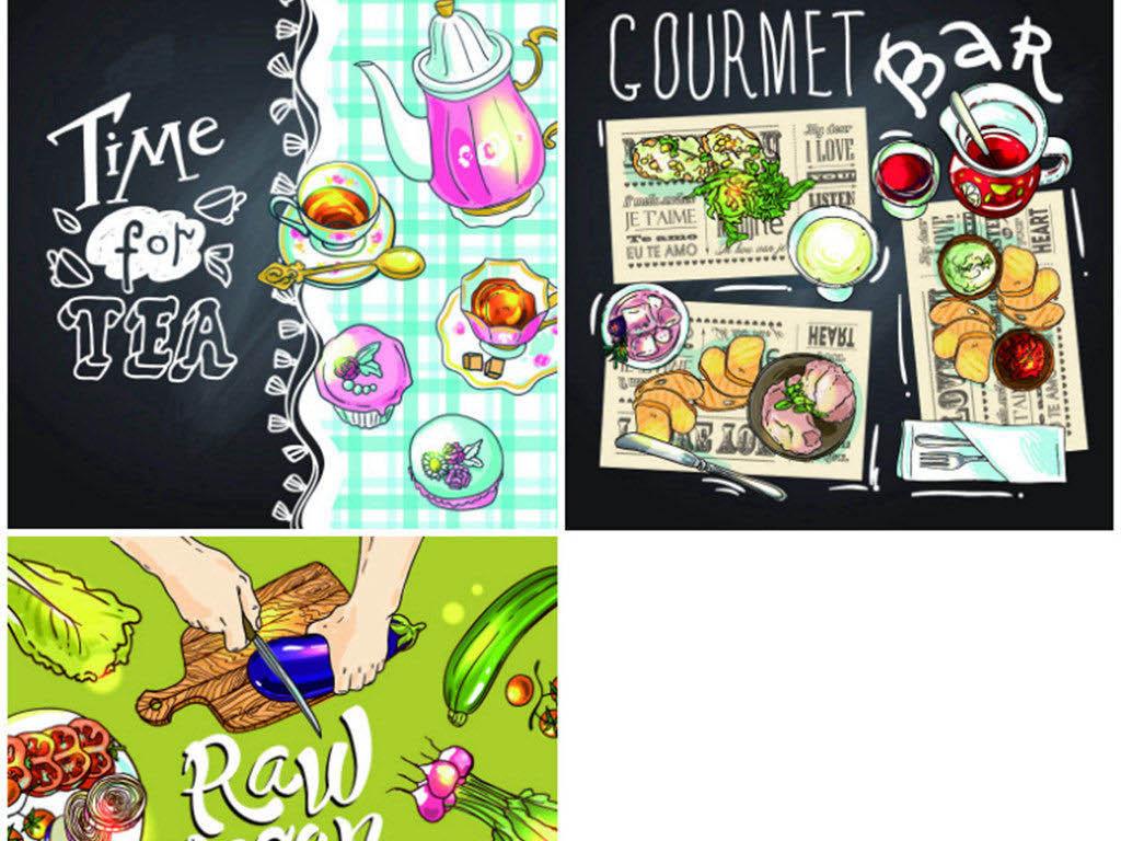 q版手绘卡通西餐食物矢量卡通食物果蔬设计素材卡通手绘手绘食物唯美