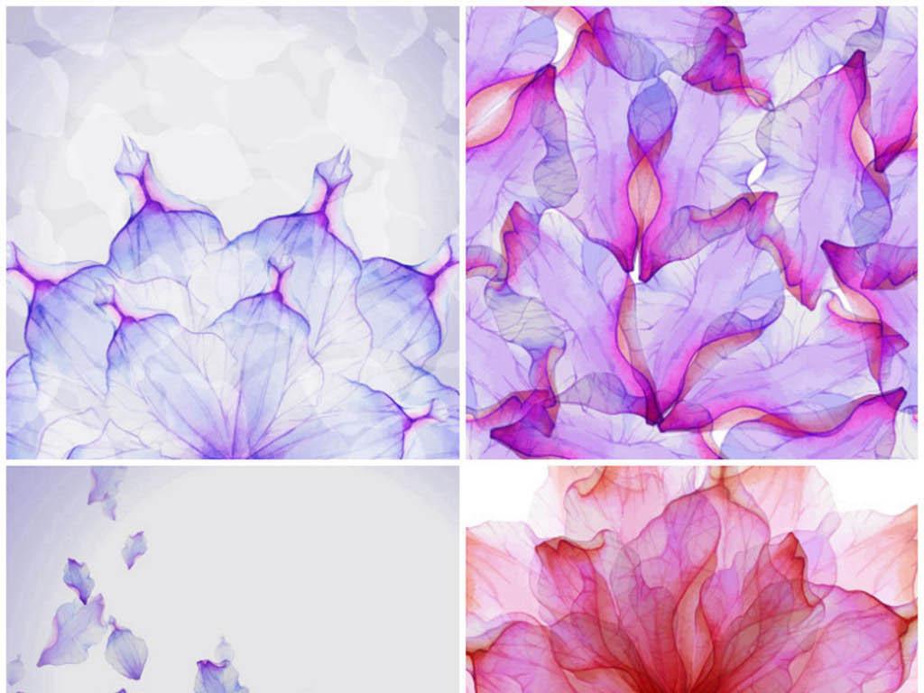 梦幻水彩花瓣花朵重复变幻图案矢量背景素材