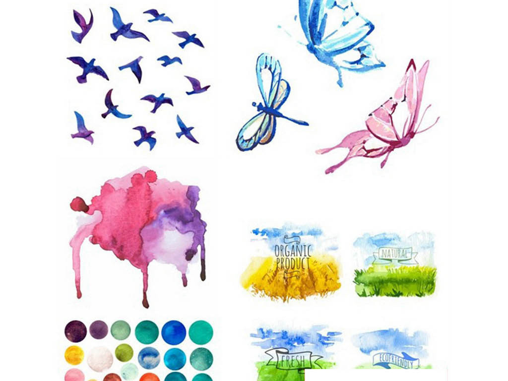 水彩水粉手绘墨痕花鸟蝴蝶自然元素矢量素材