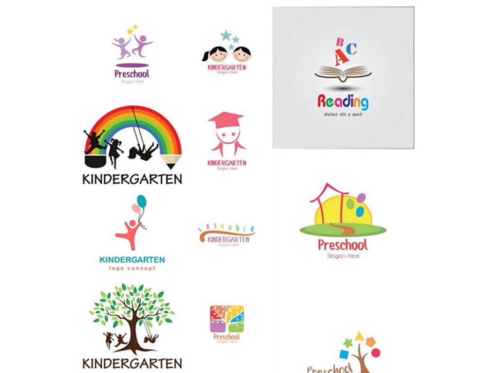 幼儿园儿童风车铅笔创意图标设计矢量素材