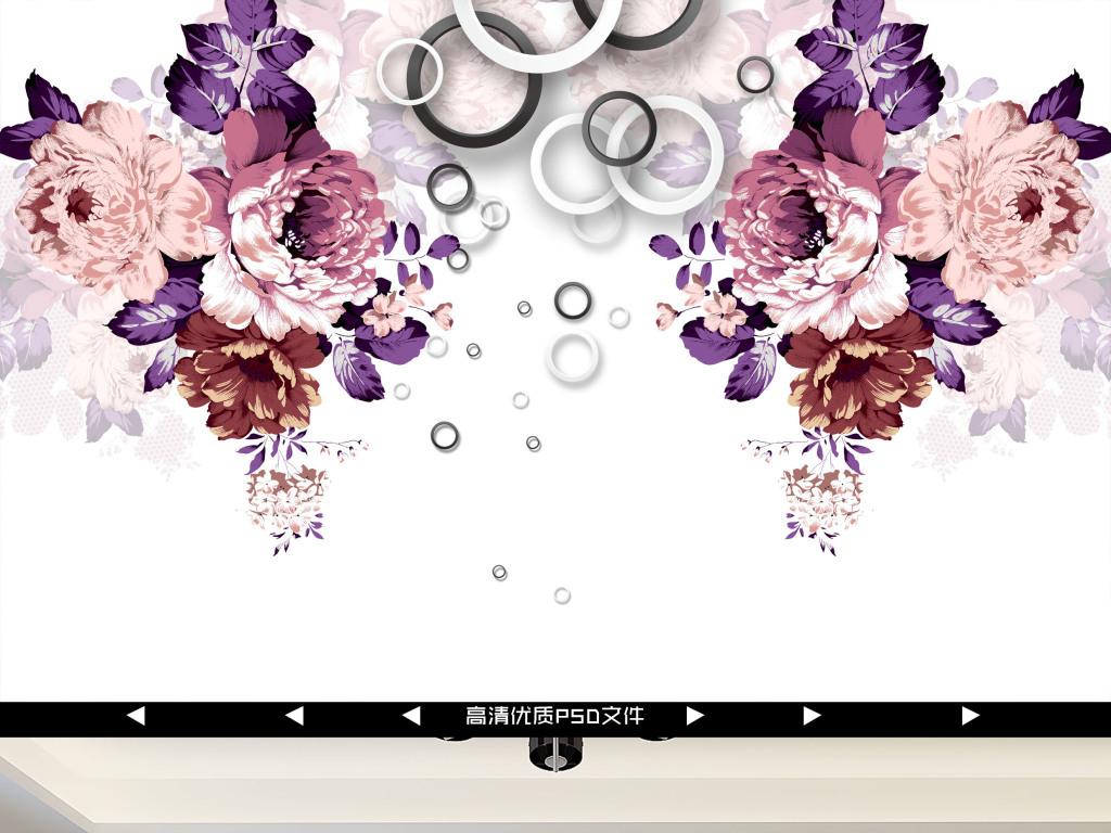 手绘立体牡丹花背景墙