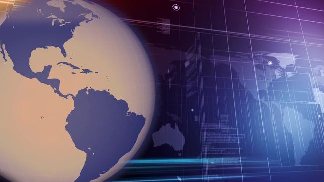 蓝色地球转动新闻财经栏目演播室背景视频图片