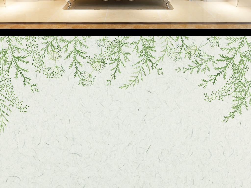 简约清新手绘树叶电视背景墙下载模板