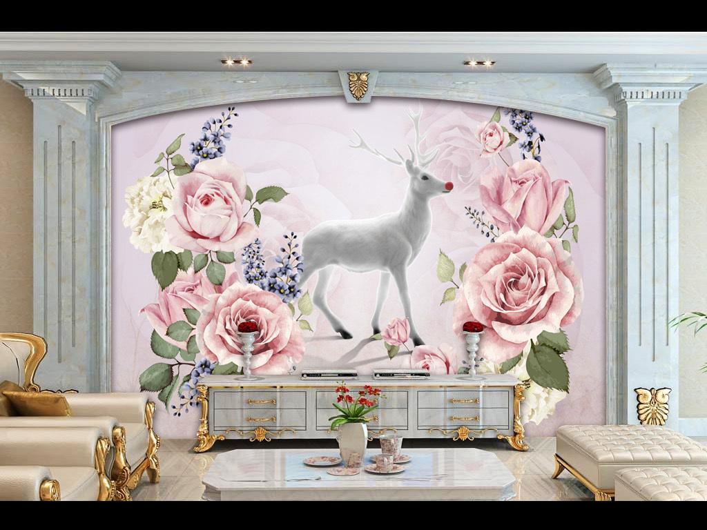 高档欧式手绘玫瑰花鹿电视背景墙下载