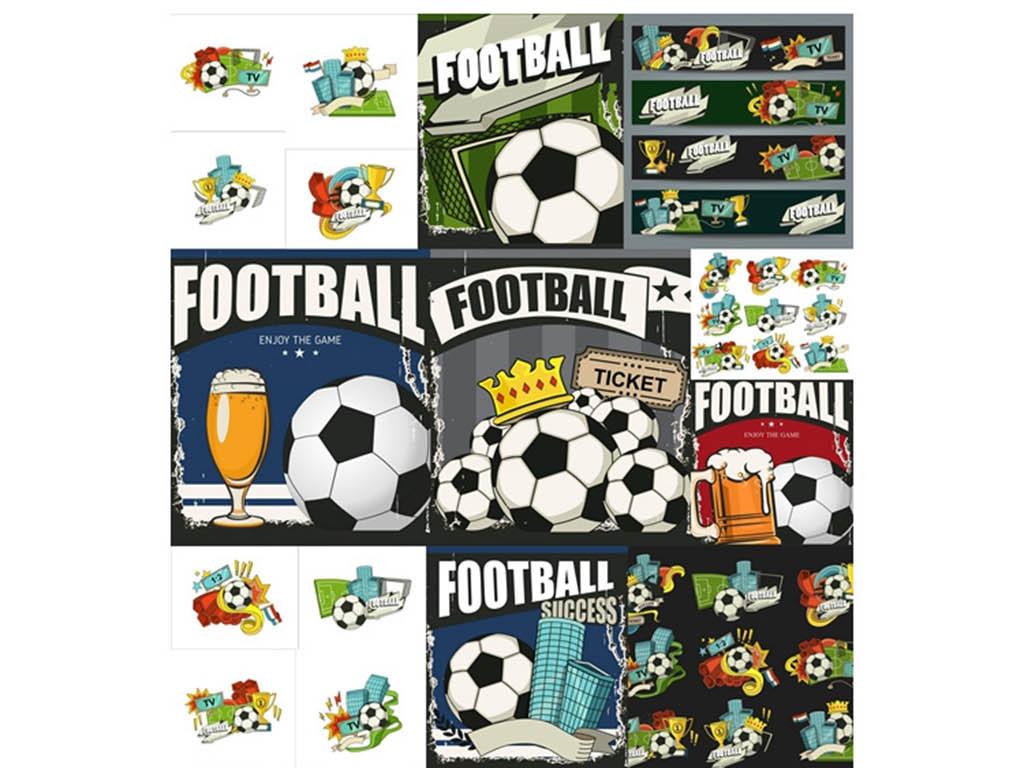 卡通欧洲杯啤酒足球海报矢量设计素材