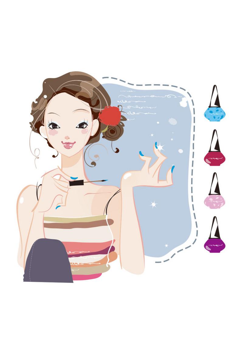 卡通化妆美女涂指甲油