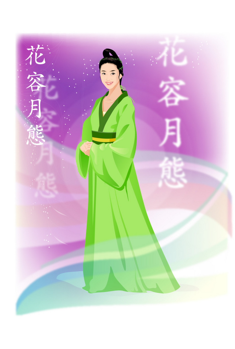 中国古装手绘绿衣美女