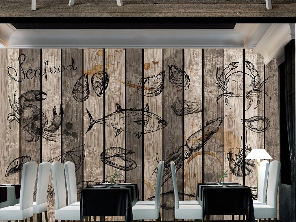 壁纸壁画复古背景木板海鲜海鲜背景手绘画复古木板背景深海鱼深海鱼
