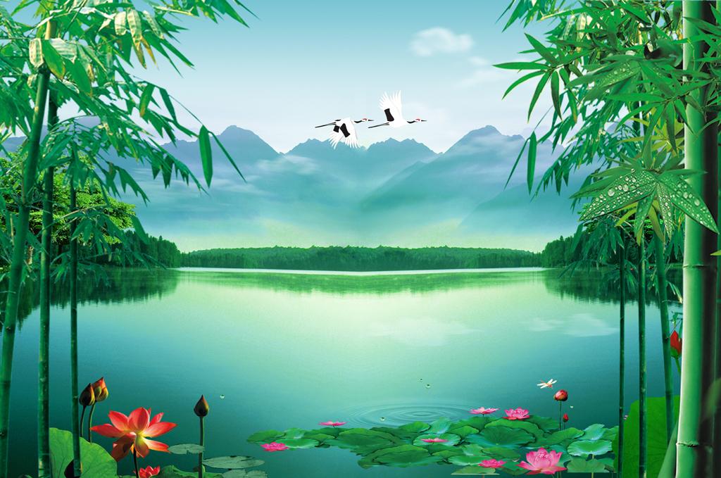 荷花竹子山水湖泊仙鹤风景画