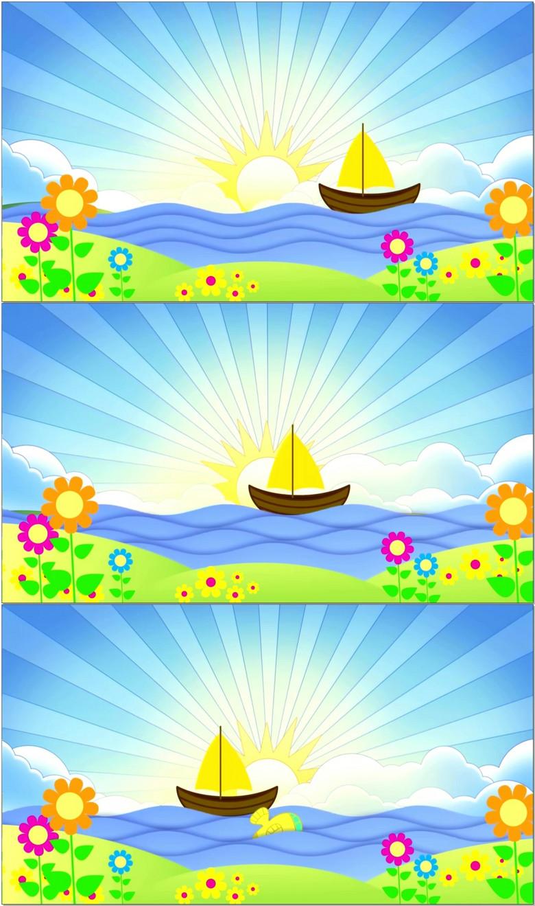 卡通儿童节励志梦想起航小船航海led背景图片