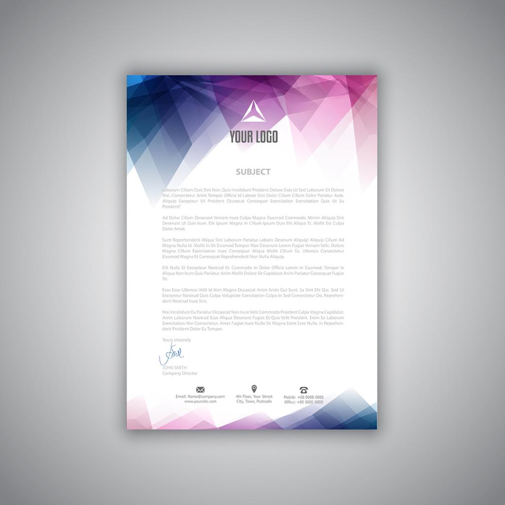 科技感背景企业办公用品信纸模板模板下载 科技感