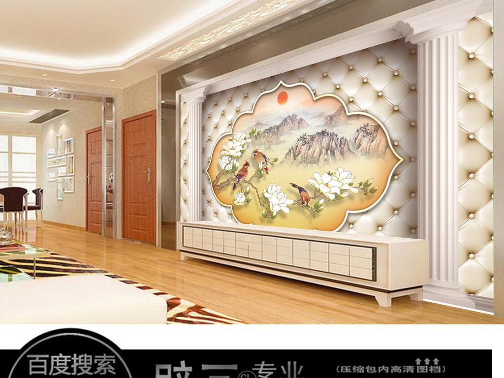 新欧式软包风景山水画背景墙