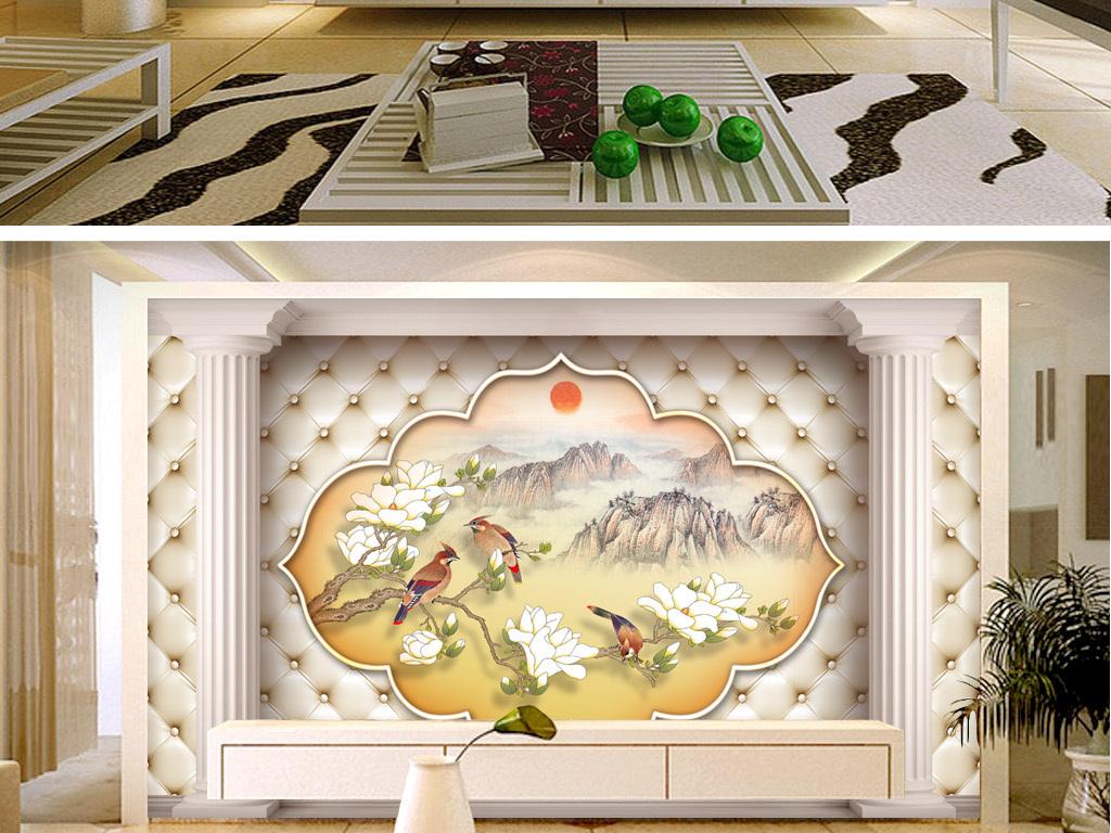 背景墙 电视背景墙 欧式电视背景墙 > 新欧式软包风景山水画背景墙图片