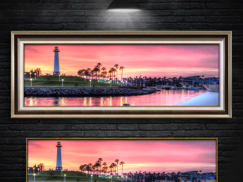 日出海边风景灯塔无框画