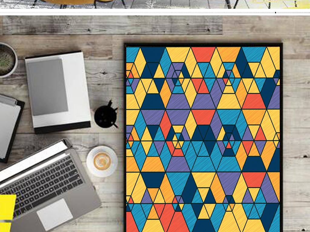 高清现代几何抽象图案色块拼图简约色彩画