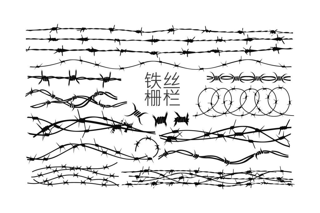 铁丝花艺矢量素材栅栏个性花边