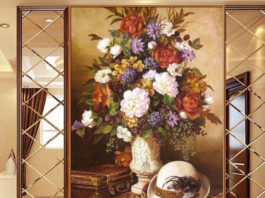 高清欧式油画花卉艺术玄关