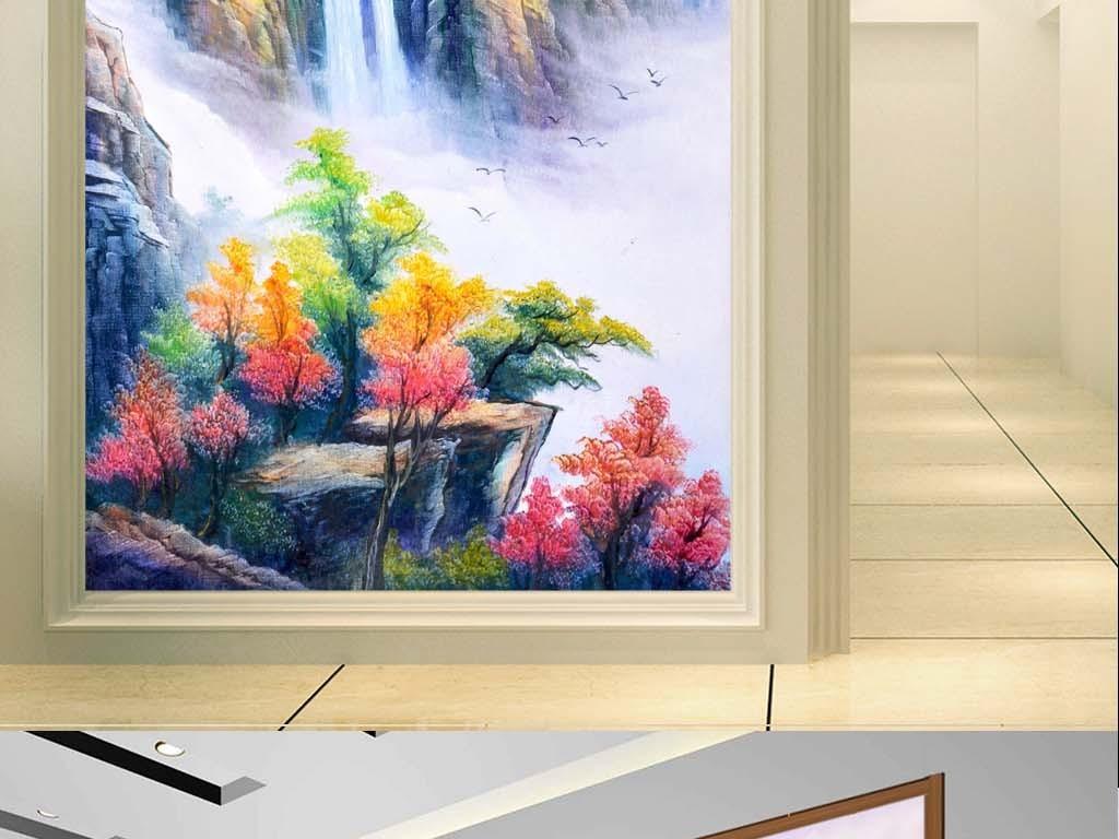 超清油画手绘山水画玄关餐厅装饰画