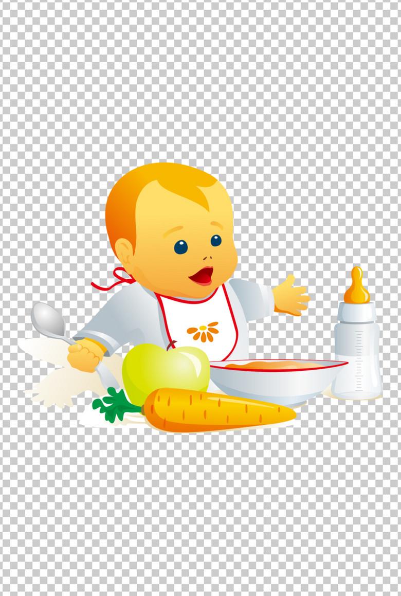 可爱卡通幼儿吃饭图片