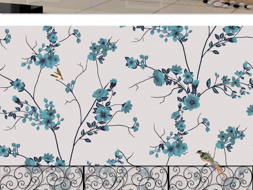 手绘淡雅花鸟壁画背景图(图片编号:15755425)_手绘墙