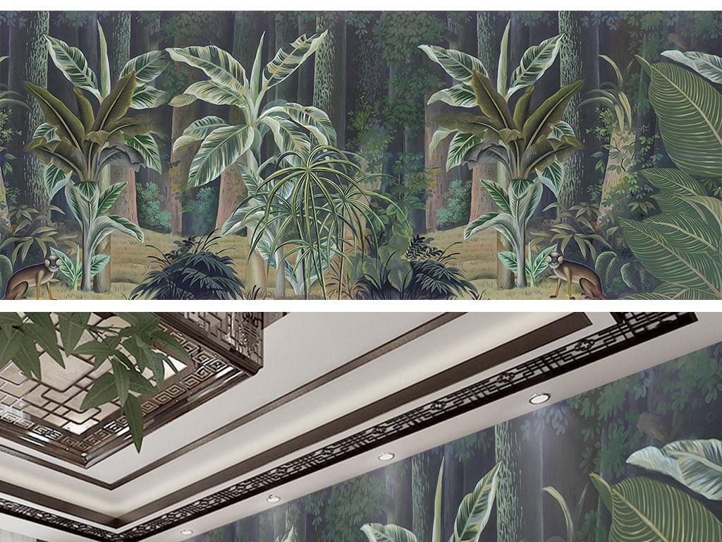 壁画壁纸墙纸丛林唯美热带雨林芭蕉叶芭蕉树手绘背景热带雨林背景手绘
