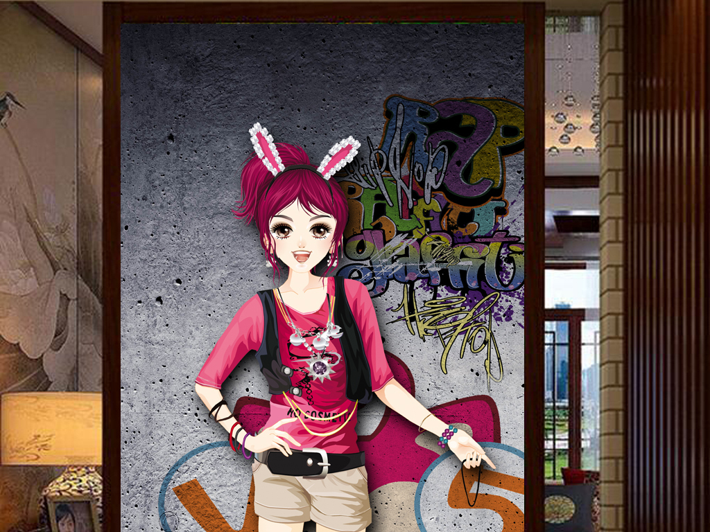 3d墙壁qq网吧手绘人物工装玄关