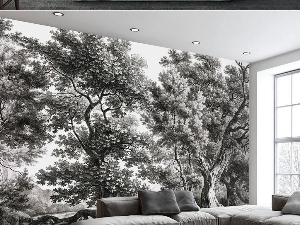 手绘大树电视背景墙图片玻璃电视背景墙图片客厅电视背景墙3d电视背景