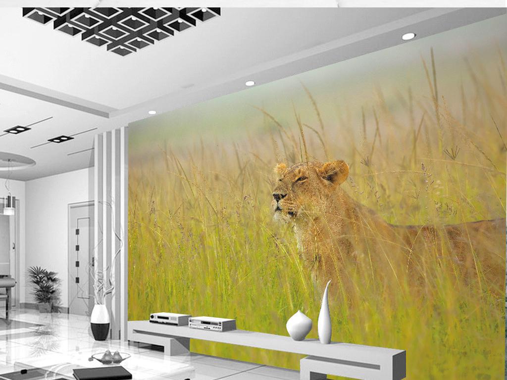 小清新草原可爱小老虎野生动物背景墙