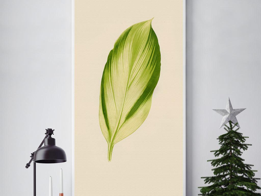 欧式创意手绘热带树叶无框画