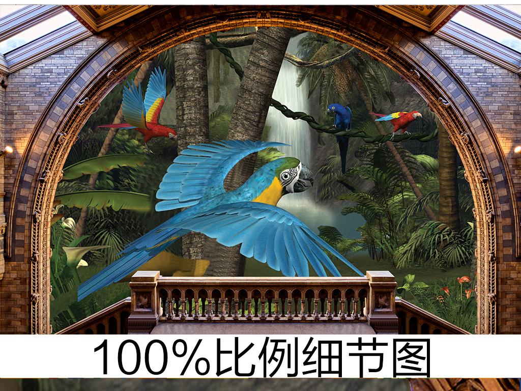 欧式屋檐3d花鸟森林背景墙图片