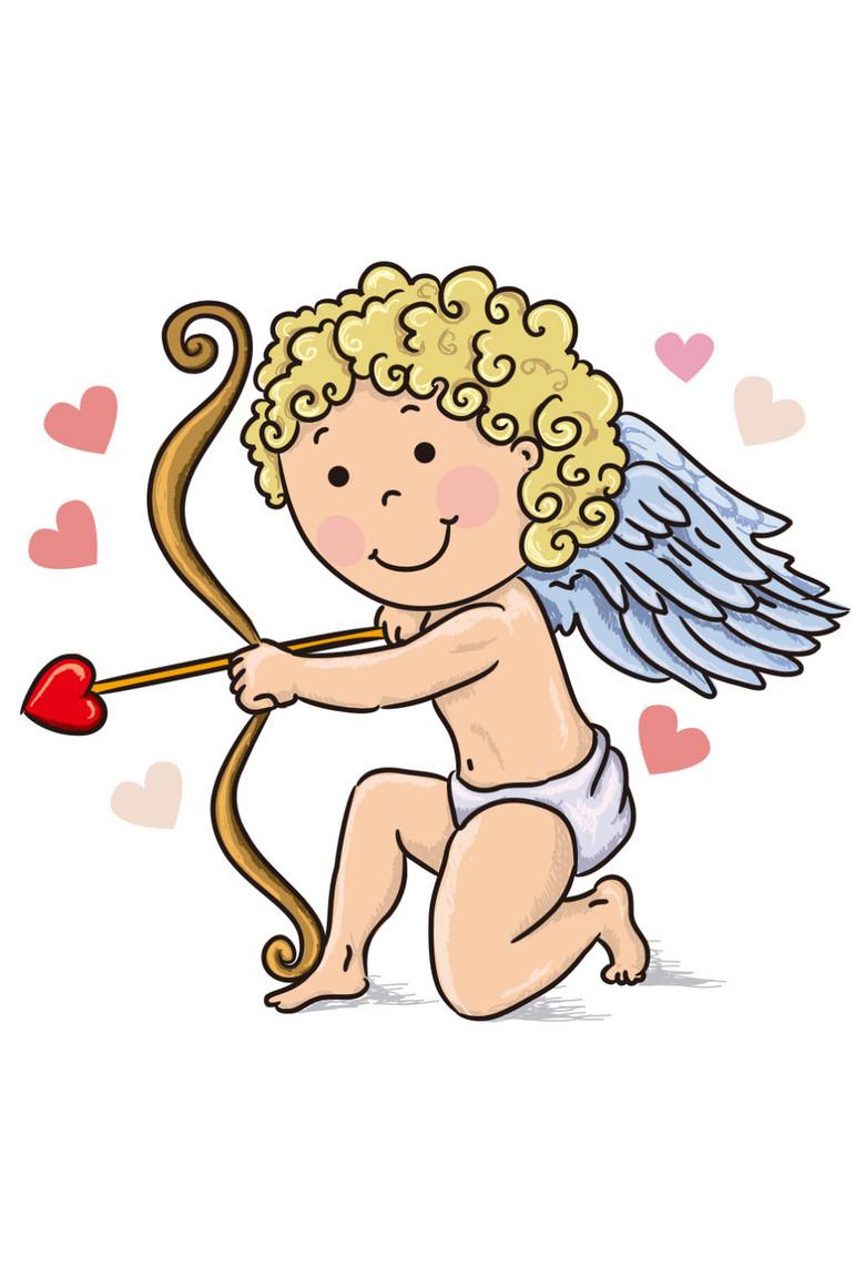 原创卡通手绘小天使射箭