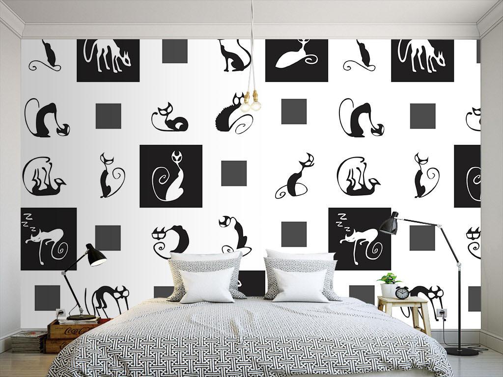 现代简约黑白猫咪无缝墙纸