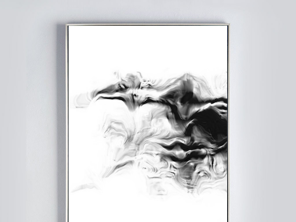 境现代室内书房装饰黑白画