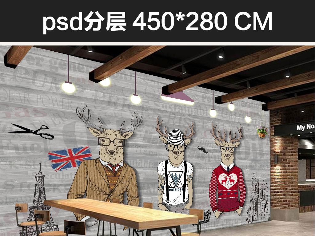 复古怀旧手绘抽象动物服装店咖啡厅背景墙