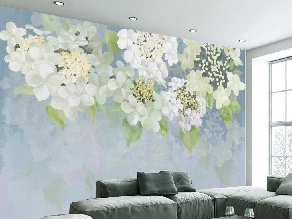 手绘清新田园油画花卉客厅电视墙
