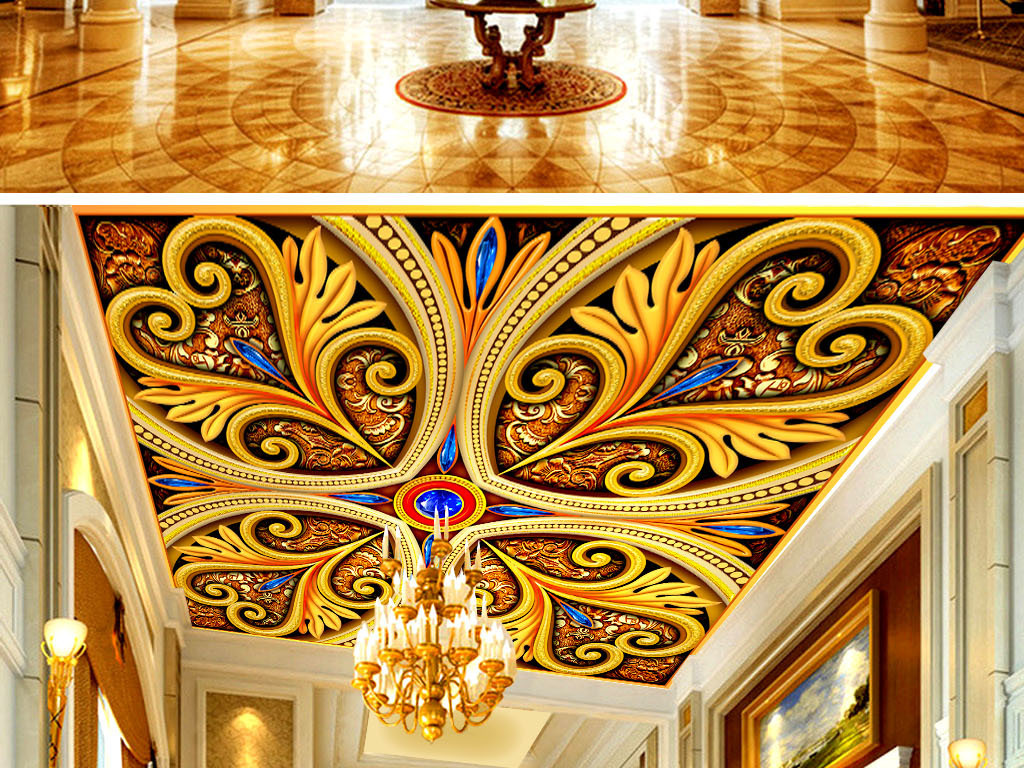 穹顶壁画欧式天顶壁画天顶壁画吊顶图天顶壁画设计手绘古典图案蓝宝石