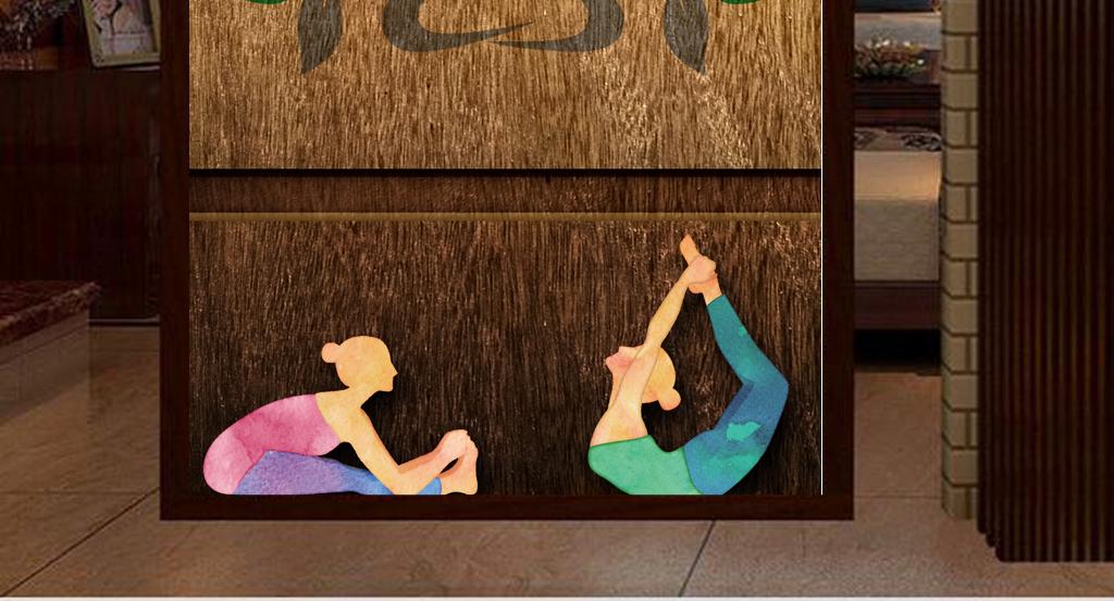 怀旧复古木板木纹瑜伽健身工装玄关