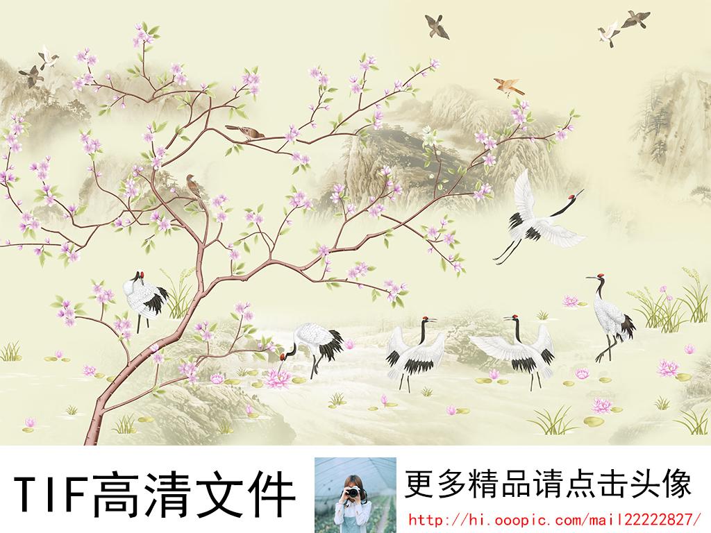 手绘中式山水工笔画背景墙装饰画