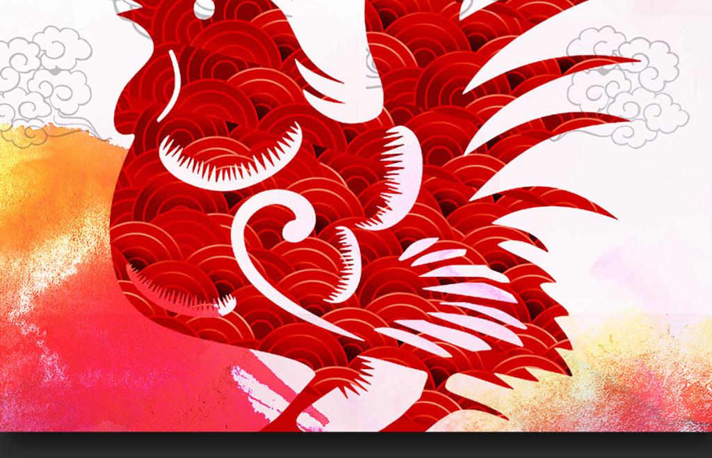 鸡年海报春节元旦贺卡挂历封面鸡年素材金鸡挂历设计