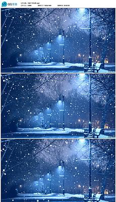 唯美伤感<strong>下雪</strong>街景夜晚高清LED视频素材