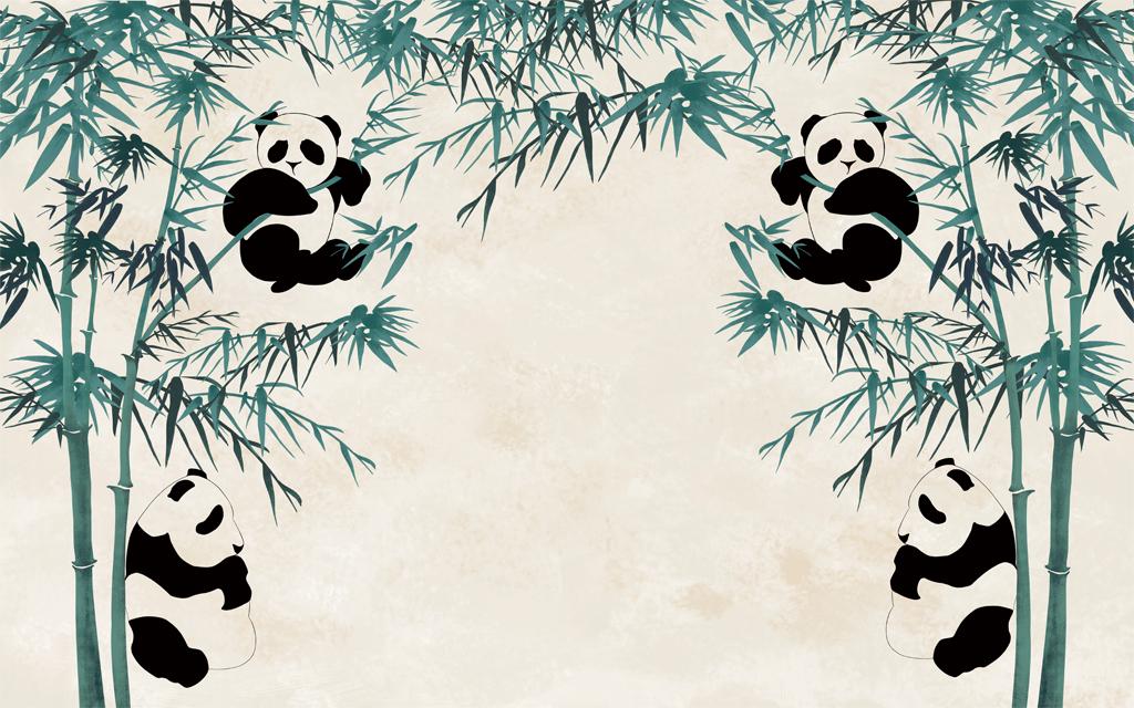 背景墙|装饰画 电视背景墙 电视背景墙 > 国宝熊猫竹林背景墙  版权图图片