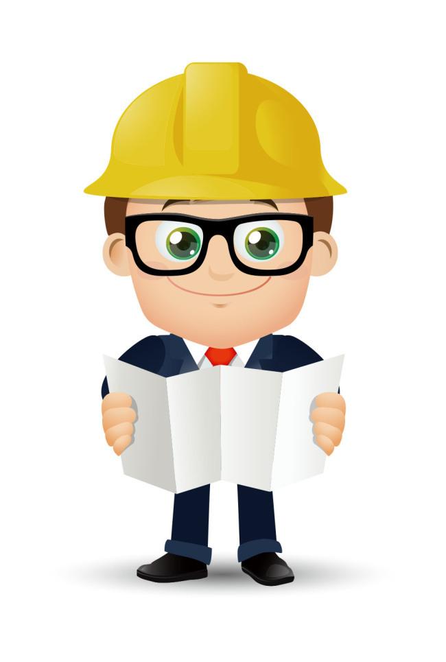 卡通可爱建筑工程师看图纸(图片编号:1576033