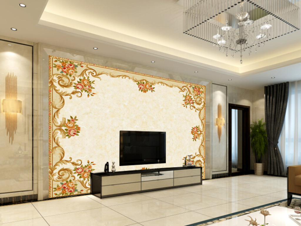 欧式花纹大理石电视背景墙图片