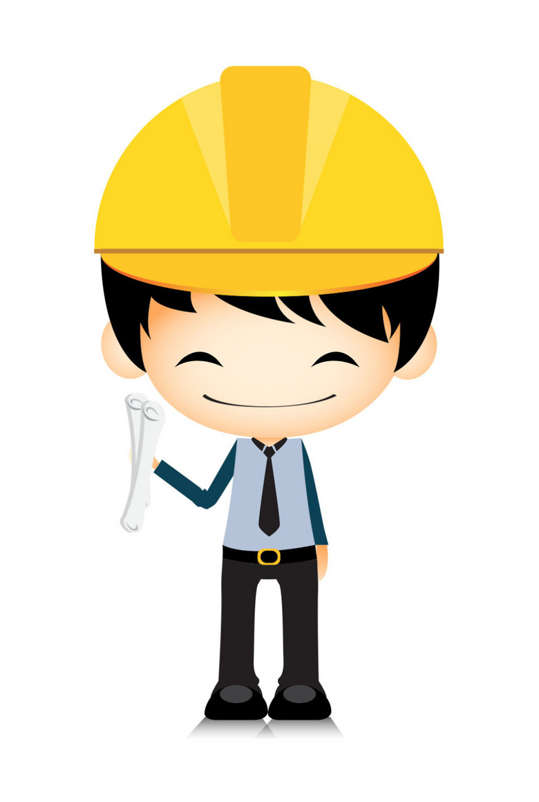 卡通手绘微笑可爱工人