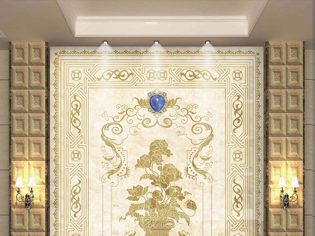 欧式花纹玄关背景墙