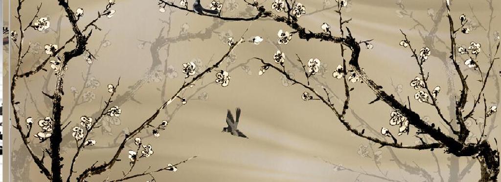 白梅花鸟喜鹊电视背景墙手绘梅花