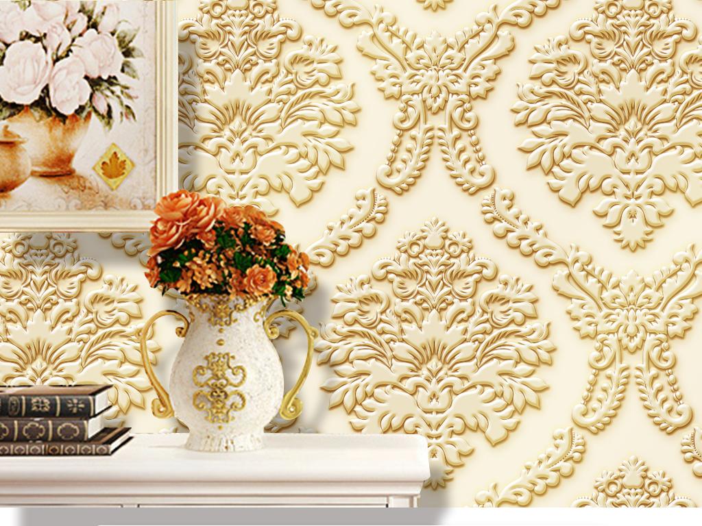 经典欧式墙纸花纹立体浮雕电视背景墙图片