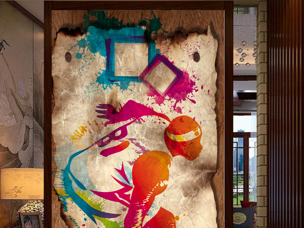 怀旧篮球明星手绘剪影彩绘工装玄关
