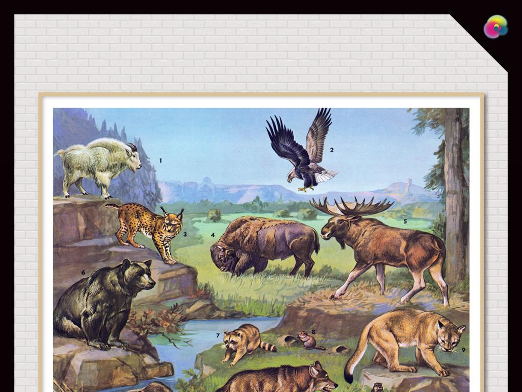 欧美简约北欧风格北欧美式抽象麋鹿动物
